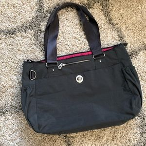 Baggalini Large Gray Zippered Tote Bag
